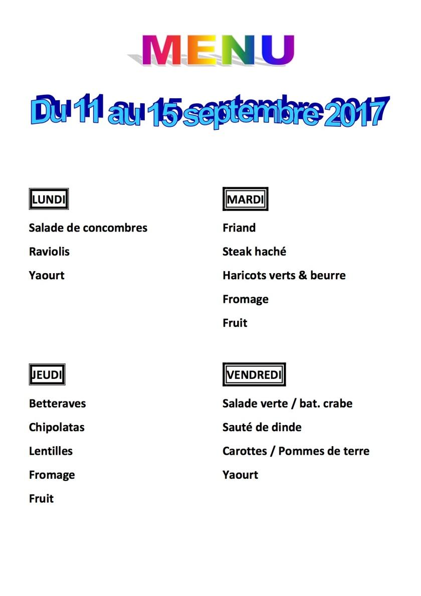 menu du 11 au 15 septembre 2017