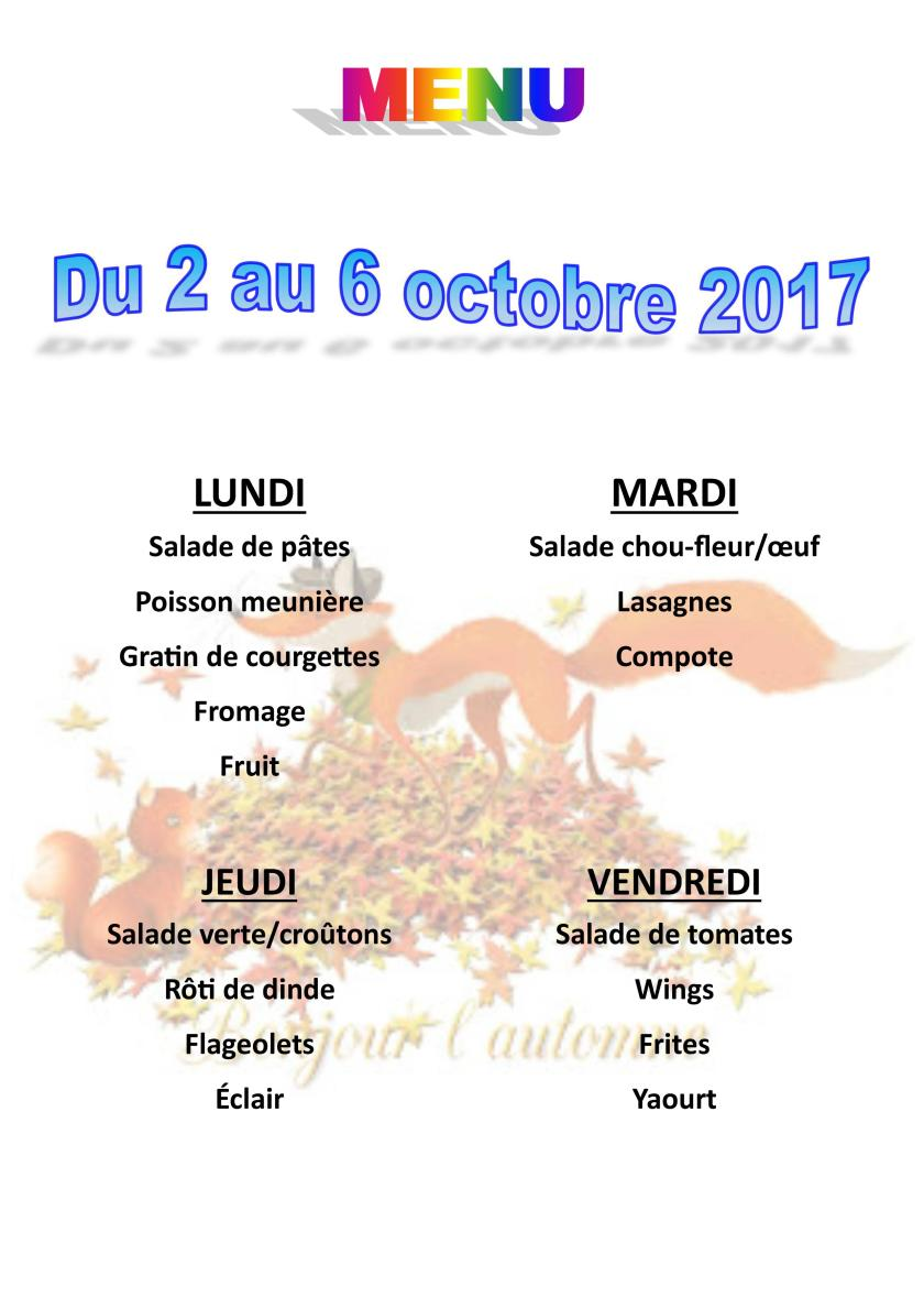 menu du 2 au 6 octobre 2017