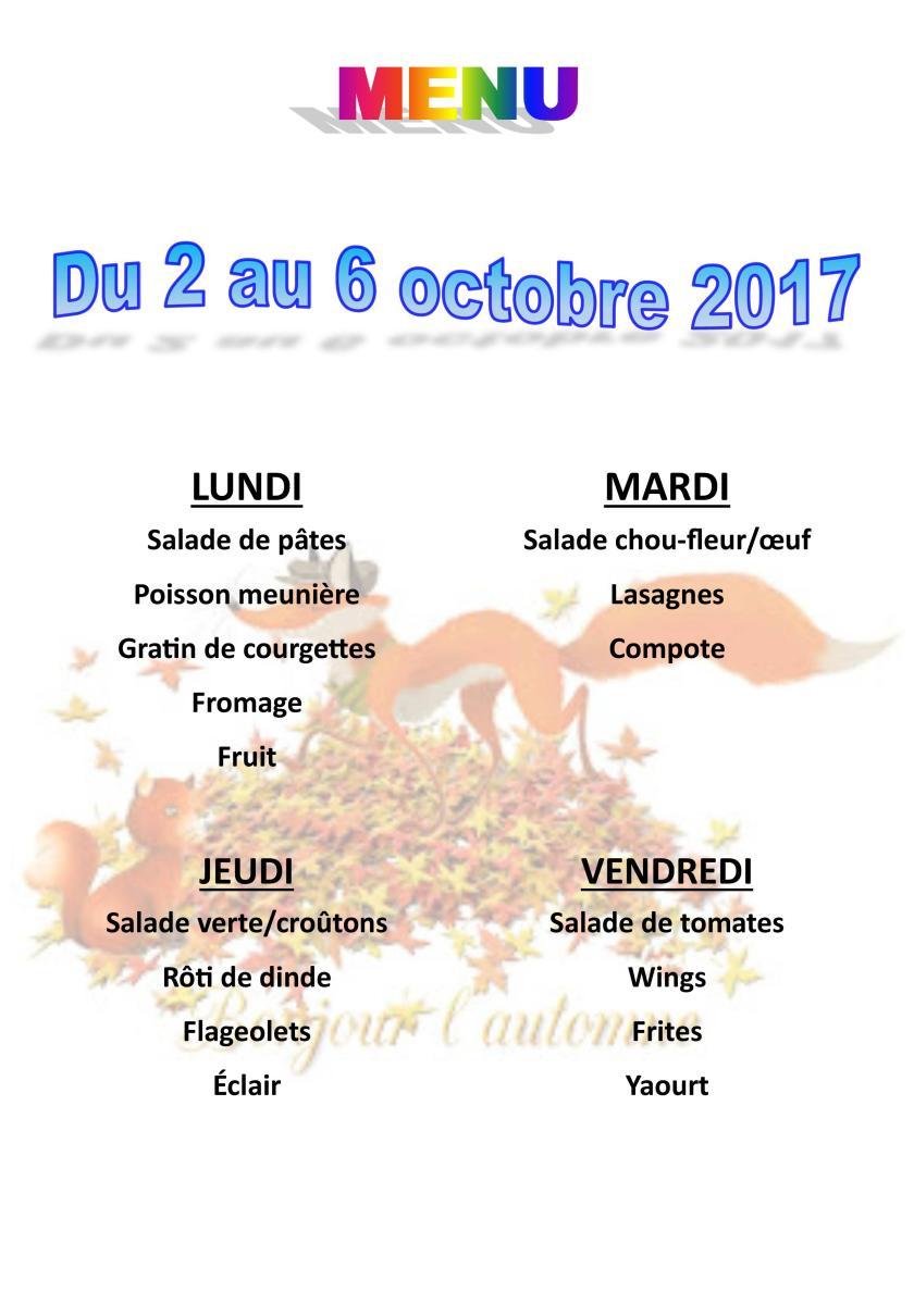 menu du 2 au 6 octobre 2017