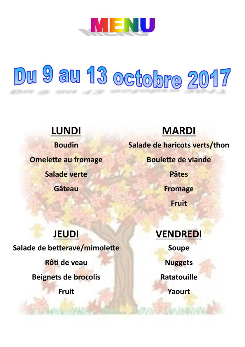 menu du 9 au 13 octobre 2017