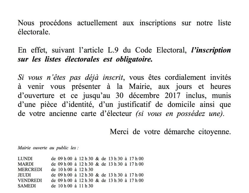 Message Rappel inscript° liste élect.