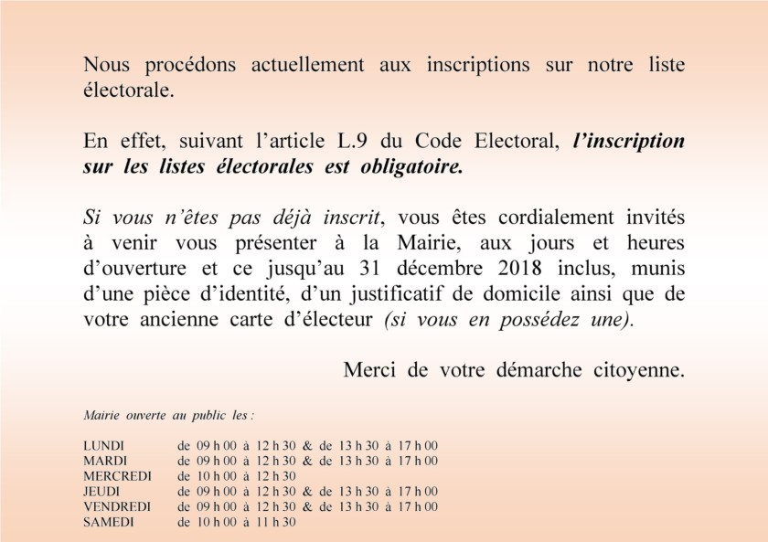 RAPPEL INSCRIPTION LISTE ELECTORALE