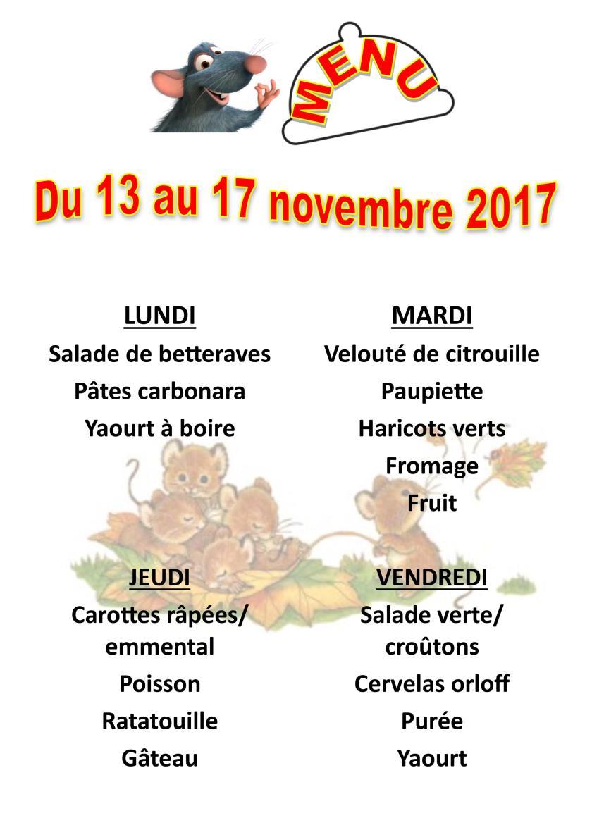 menu du 13 au 17 novembre 2017