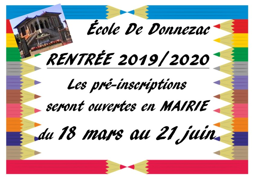 AFFICHE PRE INSCRIPTIONS RENTREE SCOLAIRE