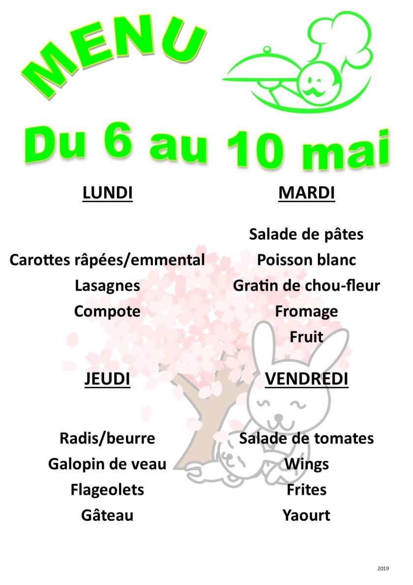 menu 2019 05 du 06 au 10