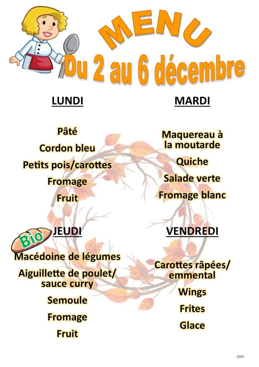 menu 2019 12 du 2 au 6