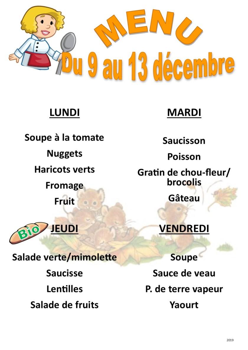menu 2019 12 du 9 au 13